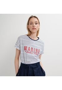 Mohito - Bawełniany t-shirt - Niebieski. Kolor: niebieski. Materiał: bawełna