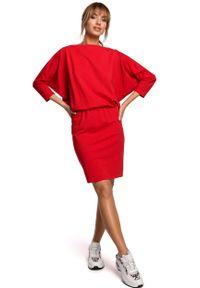 MOE - Sukienka Sportowa z Dekoltem V na Plecach - Czerwona. Kolor: czerwony. Materiał: bawełna, elastan. Typ sukienki: sportowe. Styl: sportowy