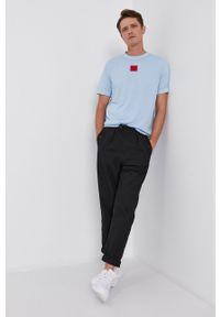 Hugo - T-shirt bawełniany. Okazja: na co dzień. Kolor: niebieski. Materiał: bawełna. Wzór: gładki. Styl: casual