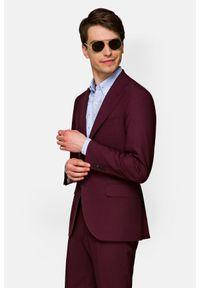 Lancerto - Garnitur Bordowy Mackenzie. Kolor: czerwony. Materiał: tkanina, wiskoza, wełna, elastan. Wzór: ze splotem, gładki
