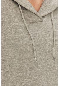 Szara bluza Answear Lab z kapturem, z długim rękawem, wakacyjna, długa