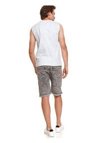 TOP SECRET - T-shirt bez rękawów gładki. Kolor: szary. Długość rękawa: bez rękawów. Wzór: gładki