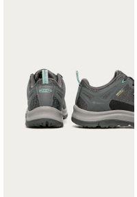 Szare buty trekkingowe keen z okrągłym noskiem, z cholewką, na sznurówki