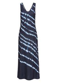 Sukienka maxi z batikowym nadrukiem bonprix ciemnoniebiesko-biel wełny z nadrukiem. Kolor: niebieski. Materiał: wełna. Wzór: nadruk. Długość: maxi