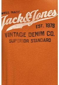 Brązowy t-shirt Premium by Jack&Jones na co dzień, z nadrukiem, casualowy