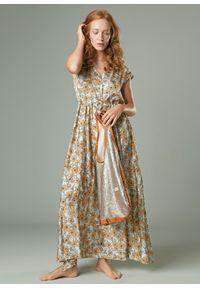 Wielokolorowa sukienka bez rękawów, maxi, klasyczna, z nadrukiem