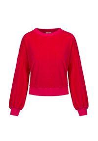 Deha - Bluza welurowa DEHA MOVE. Kolor: różowy. Materiał: welur. Długość: krótkie. Styl: klasyczny