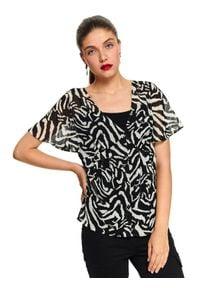 Czarna bluzka TOP SECRET krótka, z dekoltem w serek, na jesień, z krótkim rękawem