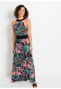 Długa sukienka z nadrukiem bonprix czarny w kwiaty. Kolor: czarny. Wzór: kwiaty, nadruk. Długość: maxi
