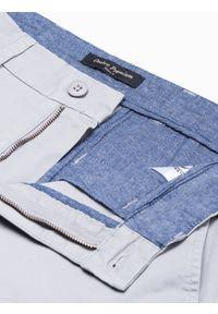 Ombre Clothing - Krótkie spodenki męskie casual W243 - jasnoszare - XXL. Okazja: na co dzień. Kolor: szary. Materiał: bawełna, elastan. Długość: krótkie. Sezon: lato. Styl: casual #2