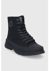 Big-Star - Big Star - Trampki. Nosek buta: okrągły. Zapięcie: sznurówki. Kolor: czarny. Materiał: guma. Szerokość cholewki: normalna. Obcas: na platformie