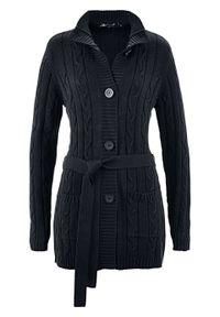 Długi sweter rozpinany bonprix czarny. Kolor: czarny. Długość: długie