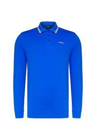 Niebieska koszulka polo Chervo z długim rękawem, polo