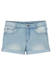 """Szorty dżinsowe dziewczęce bonprix jasnoniebieski """"bleached"""". Kolor: niebieski. Wzór: kropki"""