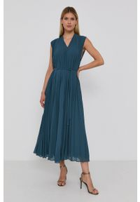 Samsoe & Samsoe - Samsoe Samsoe - Sukienka. Okazja: na co dzień. Kolor: zielony. Materiał: tkanina, poliester. Długość rękawa: na ramiączkach. Wzór: gładki. Typ sukienki: proste, plisowane. Styl: casual #3
