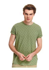 Brązowy t-shirt TOP SECRET klasyczny, na co dzień