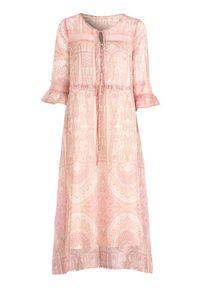 Różowa sukienka Cream z aplikacjami, boho