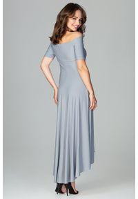 Sukienka koktajlowa asymetryczna, gładkie, elegancka