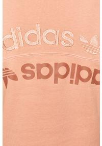Różowa bluza adidas Originals z długim rękawem, długa, z aplikacjami, z kapturem