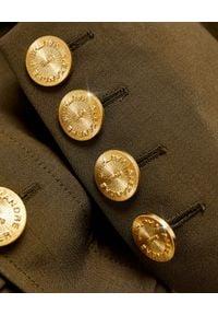 ALEXANDRE VAUTHIER - Ciemnozielona marynarka z kieszeniami. Kolor: brązowy. Materiał: wiskoza, jeans, bawełna. Długość rękawa: długi rękaw. Długość: długie. Wzór: moro. Styl: elegancki, militarny