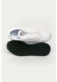 Białe sneakersy adidas Originals Adidas ZX, z okrągłym noskiem, na sznurówki, z cholewką