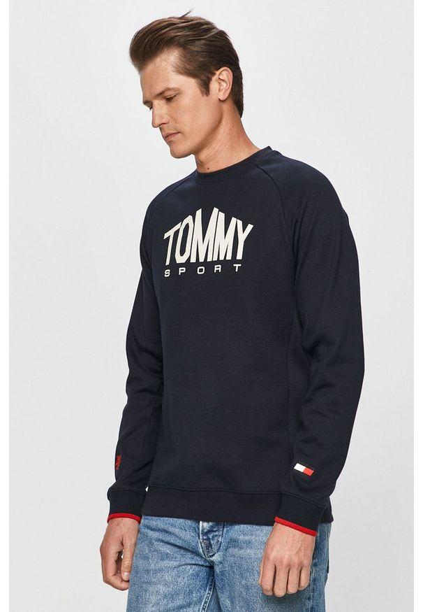 Niebieska bluza nierozpinana Tommy Sport raglanowy rękaw, na co dzień