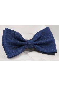 Niebieska muszka EM Men's Accessories elegancka, w kropki
