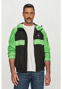 Zielona kurtka Calvin Klein Jeans z kapturem, casualowa, na co dzień, gładkie