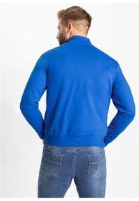 Bluza rozpinana bonprix Bluza rozpin lazur.dr. Typ kołnierza: kołnierzyk stójkowy. Kolor: niebieski. Wzór: nadruk