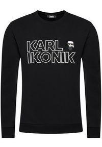 Karl Lagerfeld - KARL LAGERFELD Bluza Crevneck Ikonik 705029 511900 Czarny Regular Fit. Typ kołnierza: dekolt w karo. Kolor: czarny