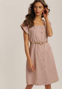Renee - Różowa Sukienka Yserney. Typ kołnierza: dekolt kwadratowy. Kolor: różowy. Materiał: bawełna. Długość rękawa: krótki rękaw. Typ sukienki: szmizjerki. Długość: mini