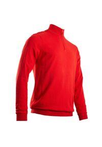 INESIS - Sweter do golfa wiatroszczelny MW500 męski. Typ kołnierza: golf. Kolor: czerwony. Materiał: poliester, materiał, bawełna. Sport: golf