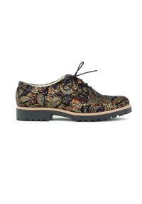 Złote półbuty Zapato z okrągłym noskiem, w kolorowe wzory