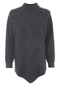 Sweter z guzikami bonprix antracytowy. Kolor: szary. Długość: krótkie