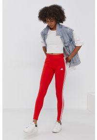 Adidas - adidas - Legginsy. Kolor: czerwony. Materiał: bawełna, dzianina