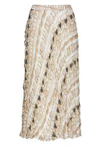 Biała spódnica bonprix z nadrukiem, długa