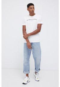 Jack & Jones - T-shirt bawełniany. Okazja: na co dzień. Kolor: biały. Materiał: bawełna. Wzór: nadruk. Styl: casual
