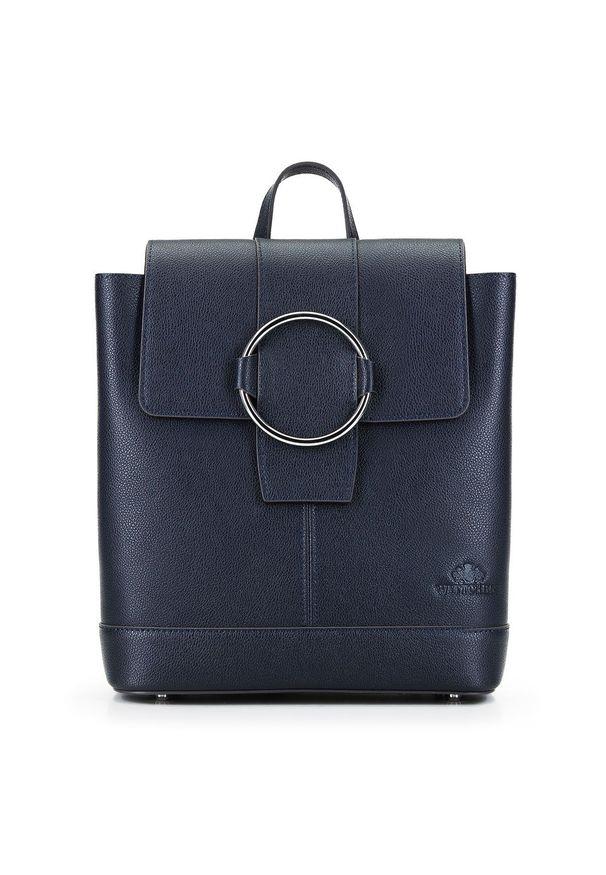 Wittchen - Damski skórzany plecak z metalowym kółkiem. Kolor: niebieski. Materiał: skóra. Wzór: haft, paski. Styl: klasyczny, elegancki