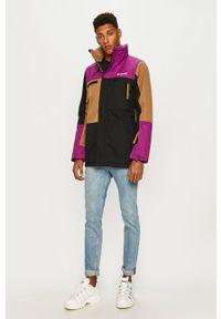 Czarna kurtka columbia casualowa, z kapturem, na co dzień, długa