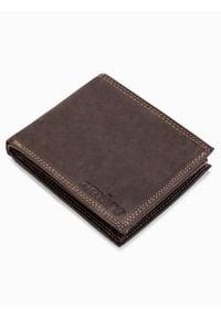 Ombre Clothing - Portfel męski skórzany A092 - brązowy - uniwersalny. Kolor: brązowy. Materiał: skóra