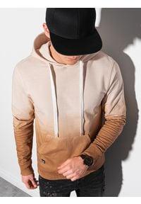 Ombre Clothing - Bluza męska z kapturem B1148 - beżowa - XXL. Typ kołnierza: kaptur. Kolor: beżowy. Materiał: bawełna