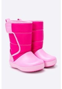 Różowe buty zimowe Crocs z okrągłym noskiem, z cholewką, na zimę