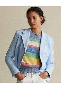 Ralph Lauren - RALPH LAUREN - Błękitna dwurzędowa marynarka. Kolor: niebieski. Materiał: bawełna. Długość: długie. Wzór: geometria. Styl: klasyczny