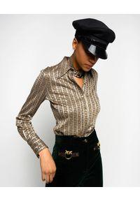 Pinko - PINKO - Elastyczna koszula vintage Sisma. Kolor: szary. Materiał: jersey, tkanina, wiskoza. Długość rękawa: długi rękaw. Długość: długie. Sezon: lato. Styl: vintage