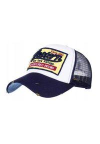 Niebieska czapka Pako Jeans z aplikacjami, na lato, retro