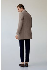 Brązowy płaszcz Mango Man na co dzień, klasyczny, bez kaptura