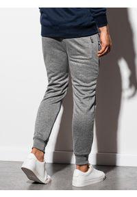 Ombre Clothing - Spodnie męskie dresowe joggery P900 - szary melanż - XXL. Kolor: szary. Materiał: dresówka. Wzór: melanż