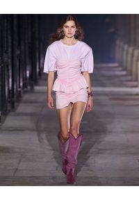 ISABEL MARANT - Sukienka z odkrytymi ramionami Dolizi. Kolor: fioletowy, różowy, wielokolorowy. Materiał: bawełna. Wzór: aplikacja. Typ sukienki: z odkrytymi ramionami. Długość: mini