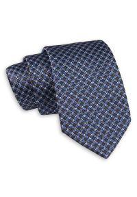 Niebiesko-Brązowy Klasyczny Szeroki Krawat -Angelo di Monti- 7 cm, Męski, Elegancki, w Kratkę. Kolor: niebieski, beżowy, brązowy, wielokolorowy. Wzór: kratka. Styl: klasyczny, elegancki