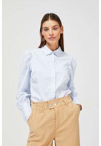 MOODO - Bawełniana koszula z bufkami. Typ kołnierza: kołnierzyk stójkowy. Materiał: bawełna. Długość rękawa: długi rękaw. Długość: długie. Wzór: paski